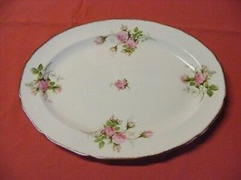 "Canonsburg Moss Rose 13 3/8"" Oval Serving Platter  22 K  Brushed Gold T... - $29.95"