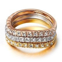 Three Rings Rose Gold Silver Gold Round Cut Crystals Jewelry Ring size 6 7 8 9 - $15.95