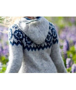 Lopapeysa with a hood + zipper - Iceland original sweaters hand-knitted - $218.00