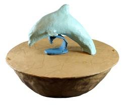 Biodegradable Dolphin Urn, Hand Made Adult/Companion Funeral Cremation Urn - $279.99