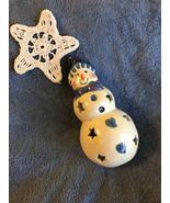 Snowman Tealight Candle Holder Bowl Vintage Ceramic Winter Theme Christm... - $23.70