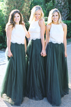 DARK GREEN High Waist Tulle Maxi Skirt Green Wedding Bridesmaid Maxi Tulle Skirt