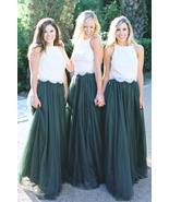 DARK GREEN High Waist Tulle Maxi Skirt Green Wedding Bridesmaid Maxi Tul... - $49.99