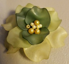 Vintage (60's ?) Two Tone Green Cellulose Flower With Faux Pearl Center ... - $12.86