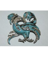 1940s 1950s Vintage Pot Metal Blue Enameled and Rhinestone Griffin Bird ... - $69.99