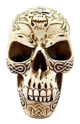 Werewolf Cream Tribal Tattoo Skull Statue Halloween Decor Horror