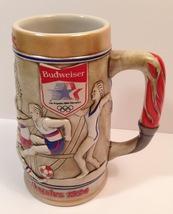 Budweiser Los Angeles 1984 Olympics Red Brown Blue Beer Stein - $20.00