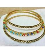 Set of 3 Slip On Bangles Bracelet Goldtone & Multi-Colored Fashion Jewel... - $9.89