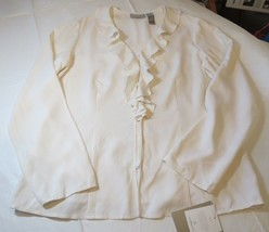 Liz Claiborne Collection Womens Long Sleeve Button Up Silk Shirt 12 Off ... - $69.29