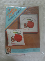 Vtg. 1974 Erica Wilson AN APPLE A DAY Crewel Embroidery Pillow  SEALED Kit - $14.85