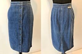 Vintage 1970s Calvin Klein Denim Snap Front Jean Skirt size S Union made USA SK7 - $34.95