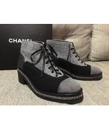 """New CHANEL BLACK GRAY SILVER CHAIN LACE UP """"CC""""... - $787.74"""