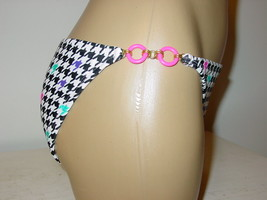 Xhilaration black white ring sides string bikini swim bottoms 50's retro... - $9.46