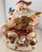 "Hand Painted Ceramic Christmas Cookie Jar Santa Claus Elves Reindeer 9""x... - $34.62"