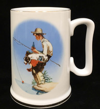 Coca Cola Coffee Cup Mug Norman Rockwell Out Fishin Drinking Coke Ceramic - $9.89