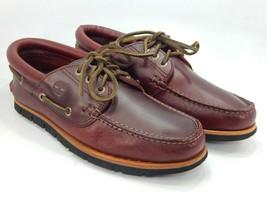 Timberland Tidelands Sz 9 M EU 43 Men's 3-Eye Leather Boat Shoes Redwood... - $82.37
