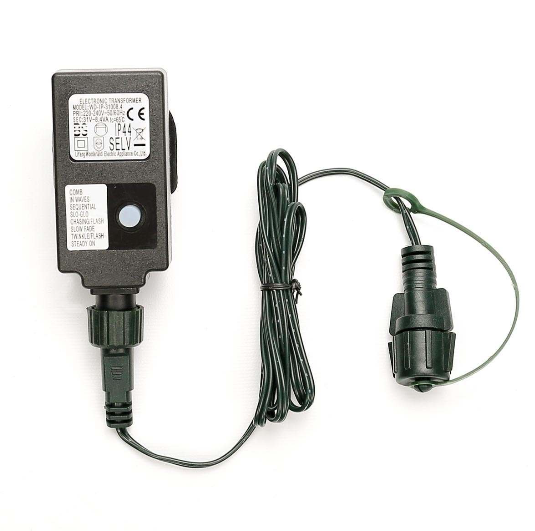Small Transformer, EU Plug, Green Cable LED Lights Power Supply