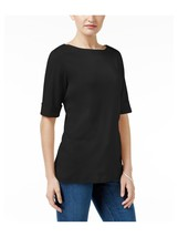 Karen Scott Womens Boat-Neck Basic T-Shirt Deep Black Size Small  - $13.86