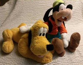 AUTHENTIC DISNEY STORE GOOFY PLUTO LARGE PLUSH STUFFED ANIMALS TOYS DOLL... - $9.21