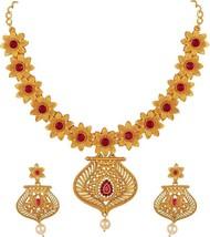 Maroon Indian Traditional Gold Tone Wedding Copper Jewelry Matt Finish N... - $19.79