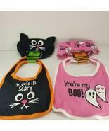 Halloween baby bib headband Set So cute it's scary Pink You're My Boo Lo... - $15.83