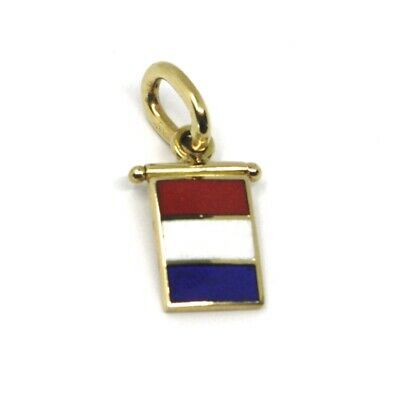 18K YELLOW GOLD NAUTICAL GLAZED FLAG LETTER T PENDANT CHARM MEDAL MADE IN ITALY