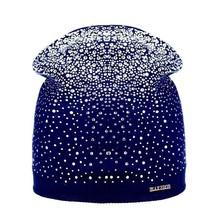 Womens Winter Diamond Hat Warm Wool Rhinestones Ladies Beanie Hats Black... - $11.95