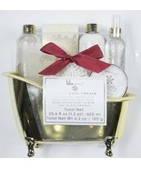 LILA GRACE GOLD BATH TUB OF BODY TREATS 7 PIECE SET NEW VANILLA BROWN SUGAR - $19.79