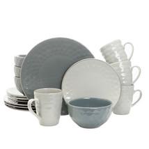 Elama Tahitian Pearl 16 Piece Stoneware Dinnerware Set in Slate and Ston... - $87.45