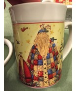 Pair Of 2 Gibson Every Day 2010 Debi Hron Patchwork Santa Claus Oven Mug... - $16.82