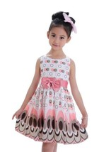 Cute printed girls bow peacock party dress - $10.81