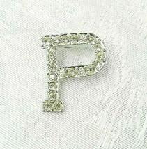 "Vintage Letter ""P"" Brooch Pin 1-1/8"" Silver Metal Clear Rhinestones - $14.84"