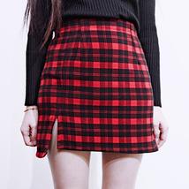 Red and Black Plaid Skirt Slit Plaid Mini Skirt High Waisted Warm Plaid Skirt image 1