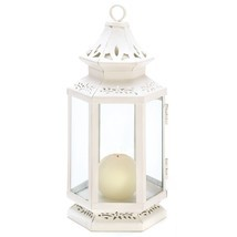 White Lantern Candle, Iron Victorian-style Outdoor Metal Candle Lanterns - $21.99