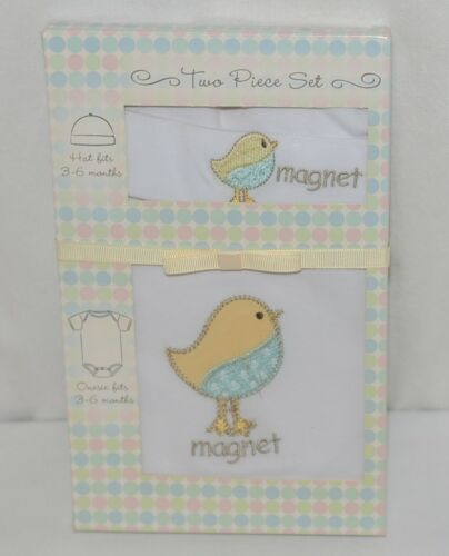 Grasslands Road 2 Piece Set Chick Magnet Hat Bodysuit White 3 to 6 Months