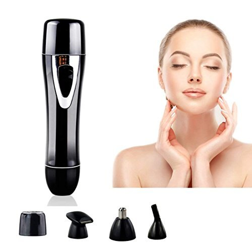 Facial Hair Remover for Women,4-in-1 Nose Hair Trimmer,USB Rechargeable Waterpro