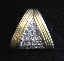 Vintage Esposito Yellow White Gold Plated Clear Rhinestone Triangle Pend... - $15.83