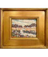 KADLIC Abstract ImpastoLandscape Original Oil Table Painting Gold Gilt F... - $107.91