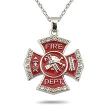 Firefighter Necklace Maltese Cross Crystal Accent Charm Fireman Wife Dau... - $22.99