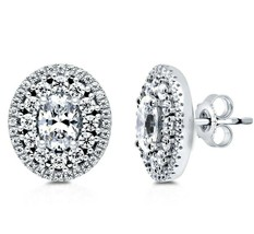 Art Deco Sterling Silver Oval Cut Signity CZ Double Halo Stud Earrings Vermeil - $44.54