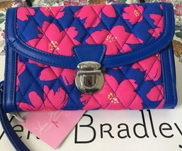 Vera Bradley Ultimate Wristlet Pushlock Trifold Art Poppies Nwt Msrp $54.00 - $25.99