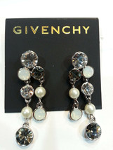 Givenchy Silver-Tone Imitation Pearl and Crystal Cluster Drop Earrings  NWT - $37.27