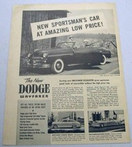 1949 Print Ad Dodge Wayfarer Sports Roadster Convertible,Sedan & Business Coupe - $14.98