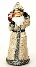 "Santa  Classic Silver - 4 5/8"" High - Santa with Brown Bag and Red Box R... - $12.93"