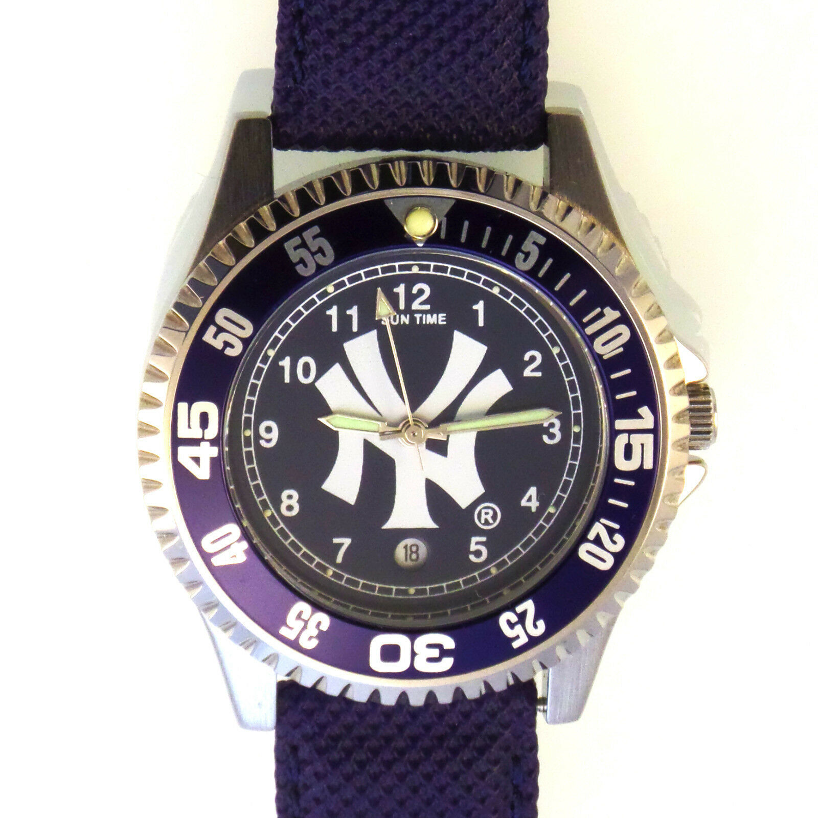 "Primary image for ""NY"" Logo Sun Time Watch 'The Competitor' Diver Blue Bezel Easy Read, Unworn $99"