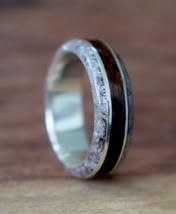 Bentwood Ring,Teak, Quartz with Silver Inlay, Men's Wood Ring, Women's W... - $110.00