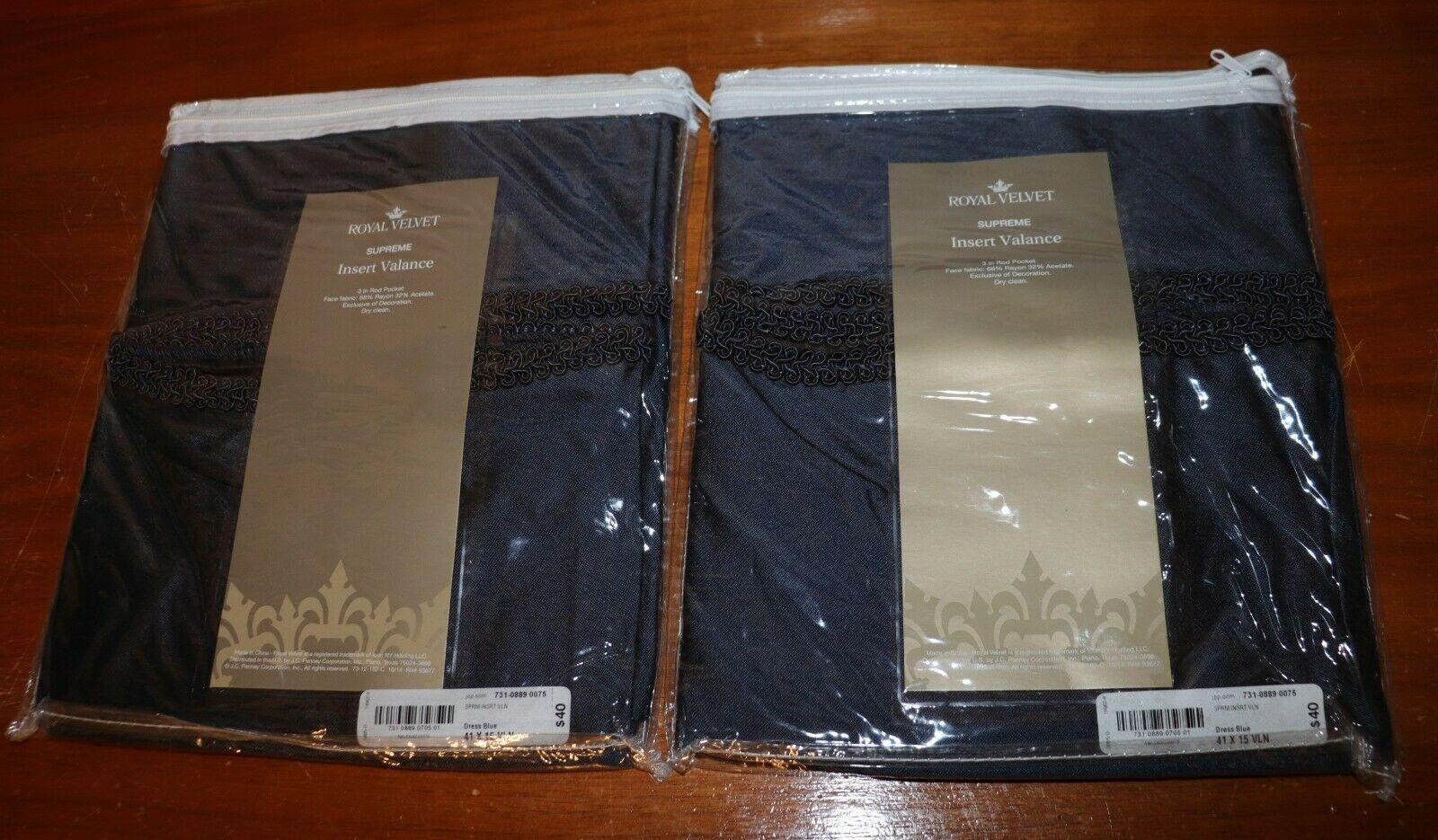 Lot of 2 Dress Blue Royal Velvet Curtain Insert Valances 41 x 15 inch NIP NEW - $10.39