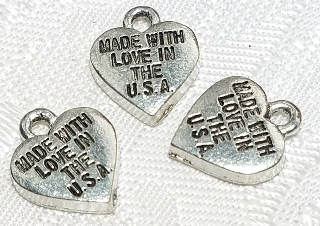 2pcs. Made With Love In The USA Fine Pewter Pendant Charm 9.5mm X11mm X1.5mm