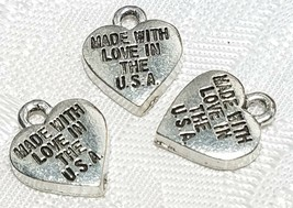 2pcs. Made With Love In The USA Fine Pewter Pendant Charm 9.5mm X11mm X1.5mm image 1
