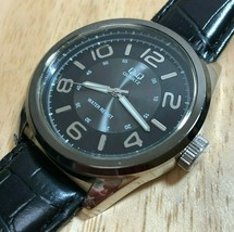 Q&Q By Citizen Mens 30m Silver Black Dial Analog Quartz Watch Hours~New ... - $12.34